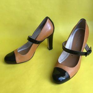 Vintage orange/black Anzo Angiolini leather heels